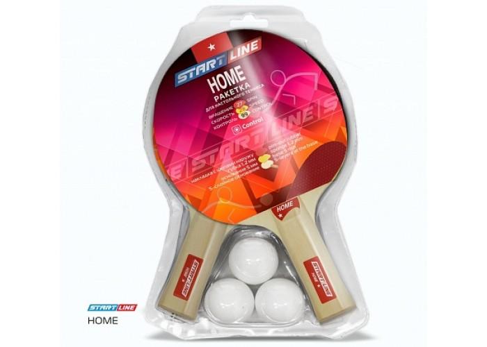 Набор START LINE: 2 Ракетки Home 1 звезда, 3 Мяча, Сетка с креплением, упаковка блистер