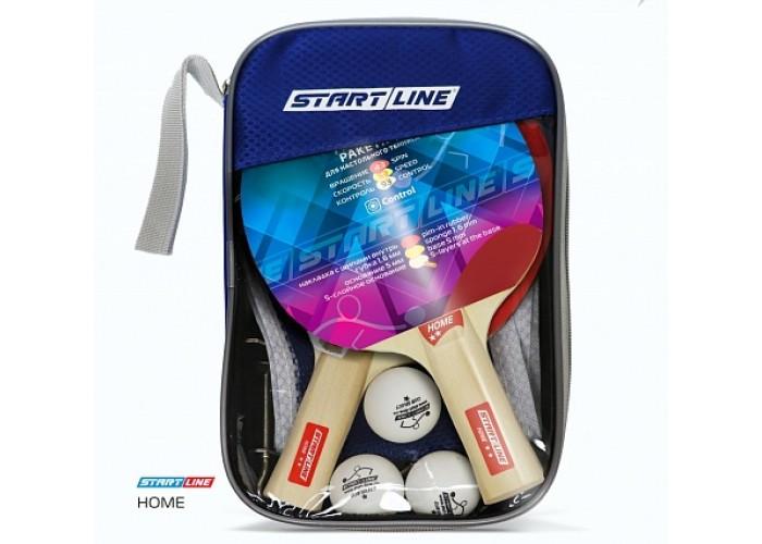 Набор START LINE: 2 Ракетки Home 2 звезды, 3 Мяча, Сетка с креплением, упаковка блистер